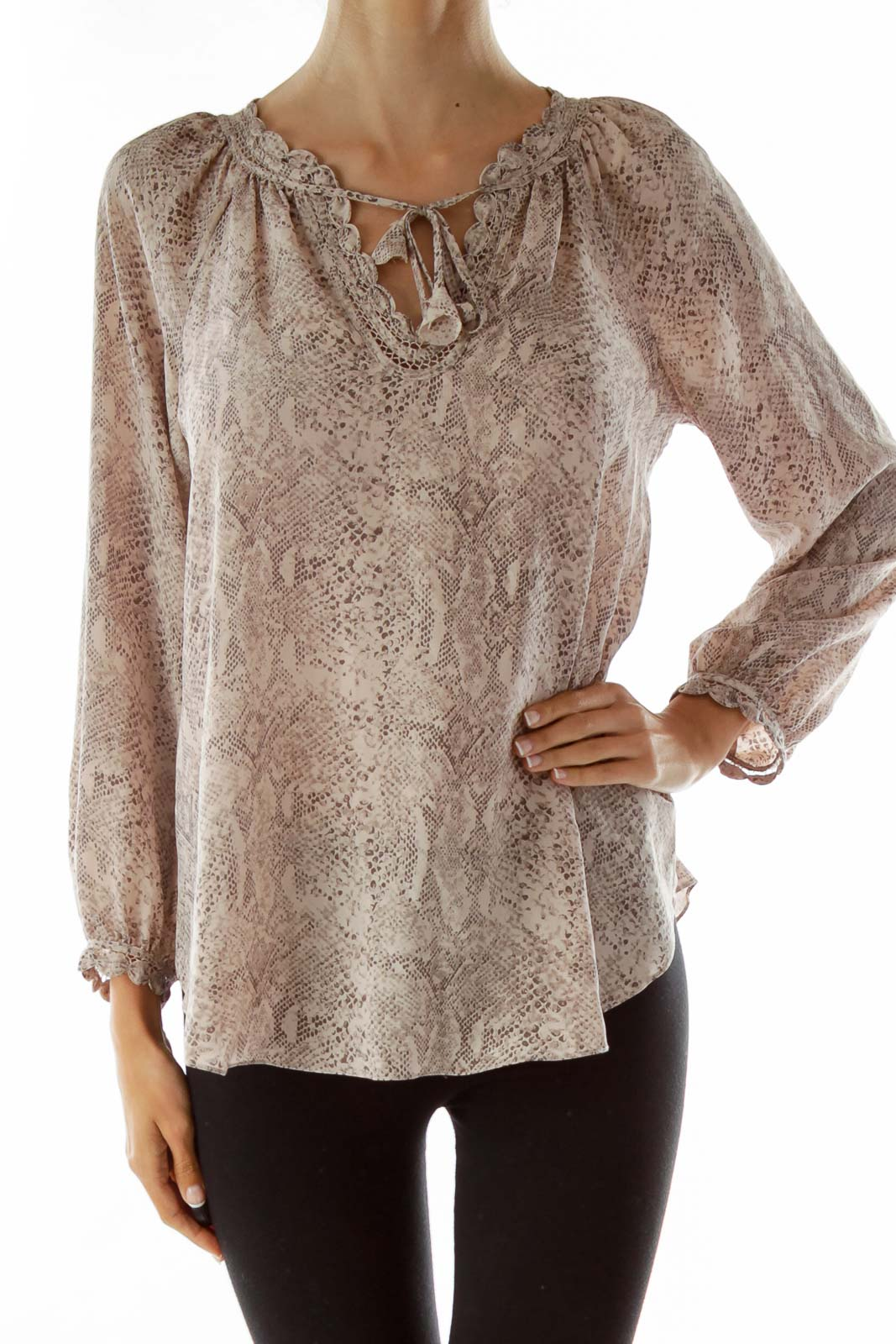 Pink Brown Snake Skin Blouse