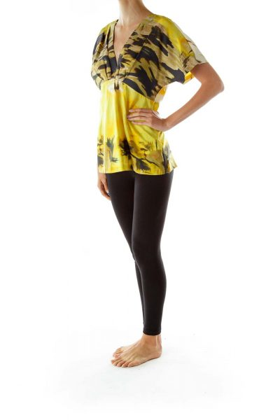 Yellow Black Silk A-Line Blouse
