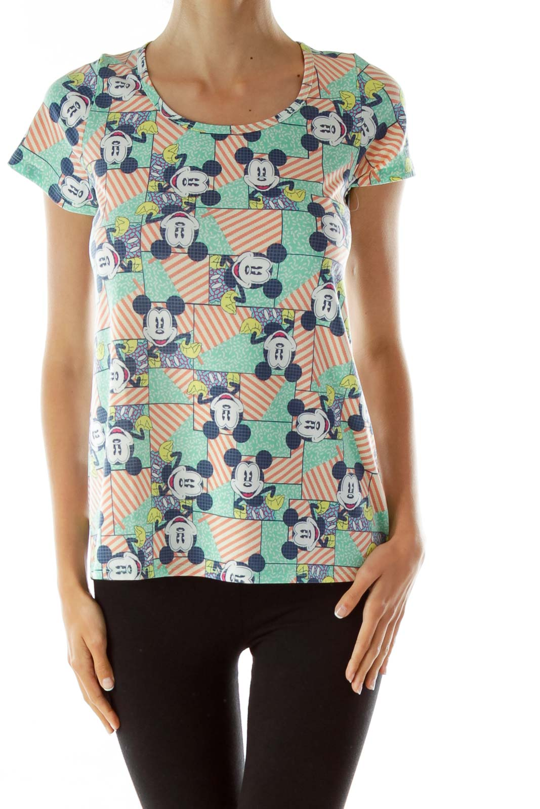 Multicolor Mickey Mouse Print Top