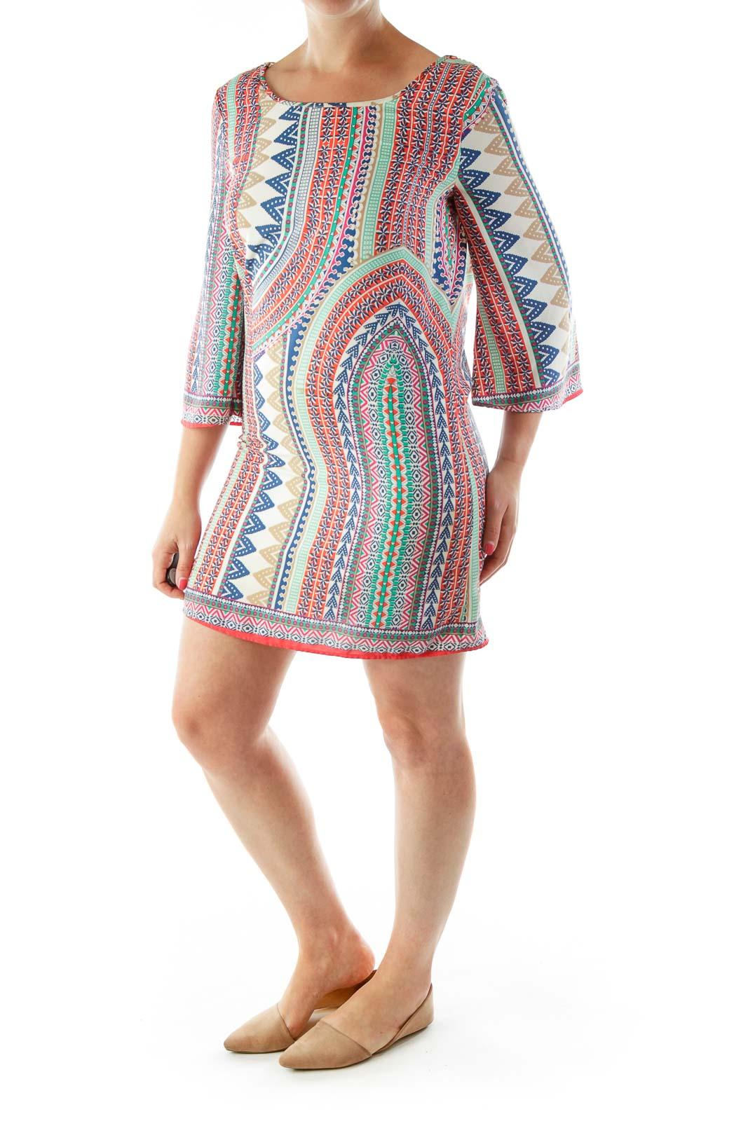 Multicolor Print Crochet Detailed Day Dress