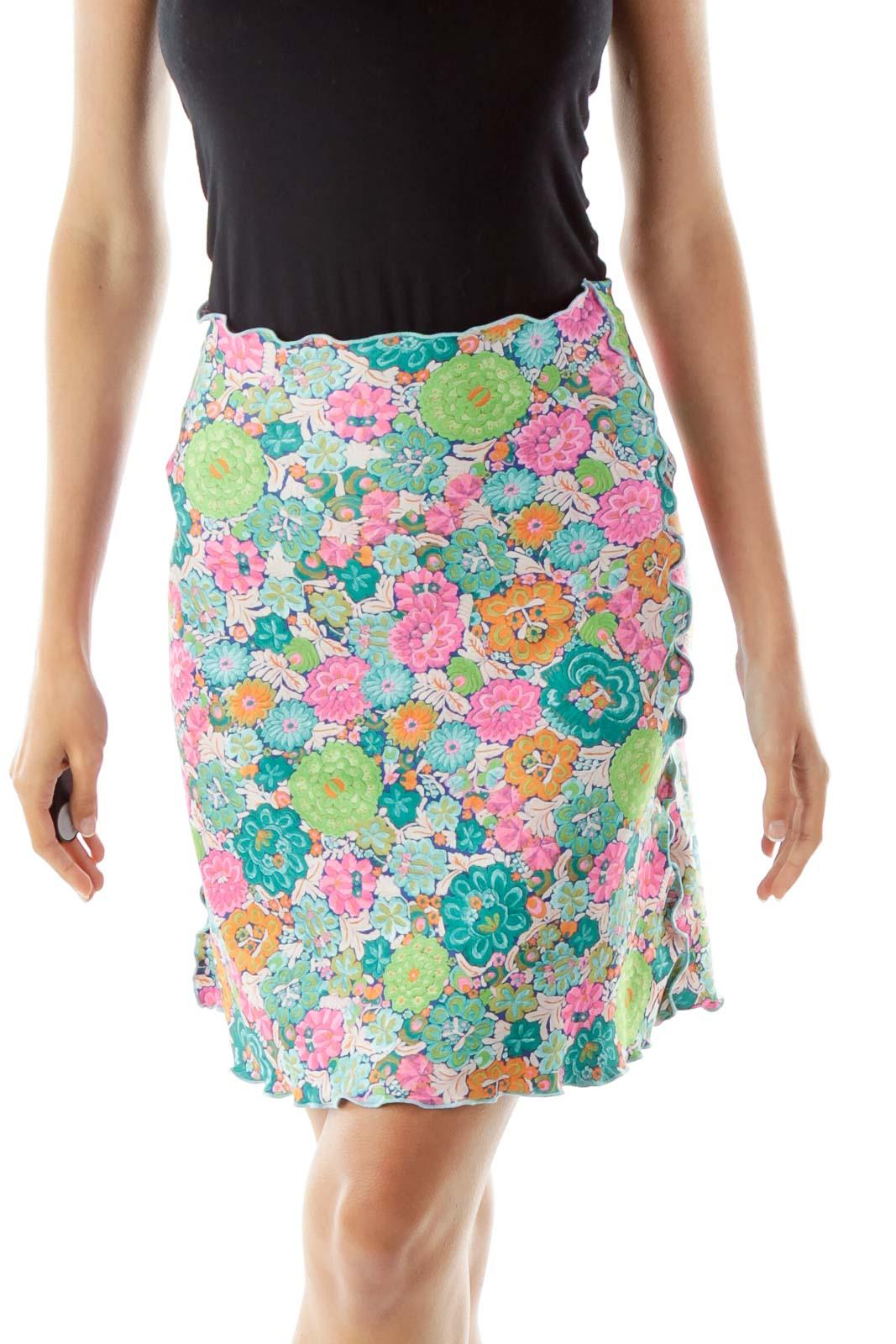 Multicolor Floral Frills A Line Skirt
