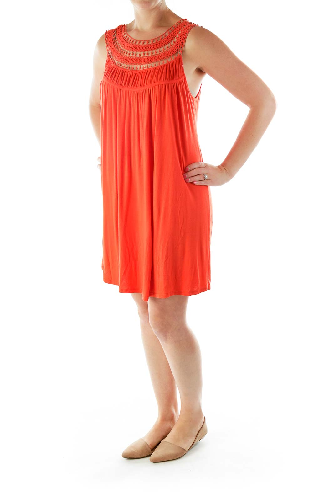 Orange Crocheted Day Dress
