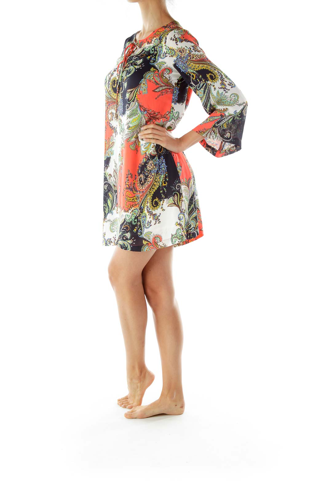Multicolor Paisley Shift Day Dress