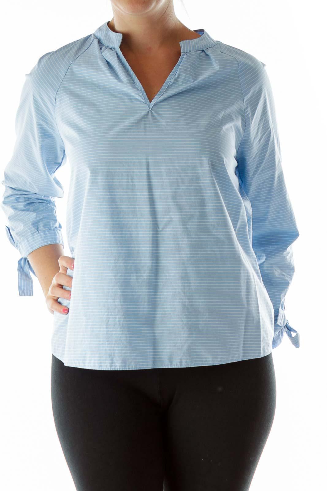 Blue White Striped V-Neck Blouse