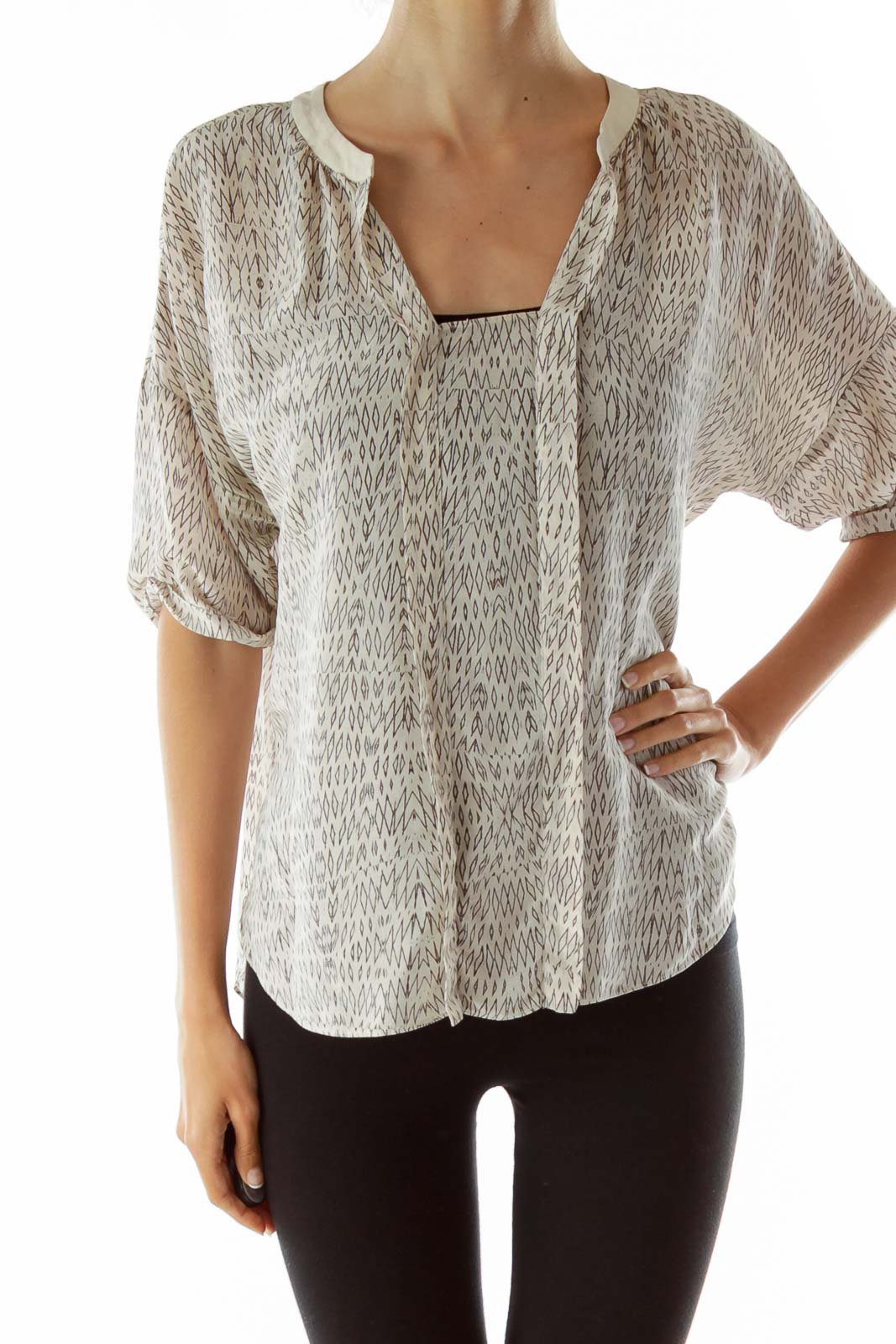 Beige Tribal Printed Blouse