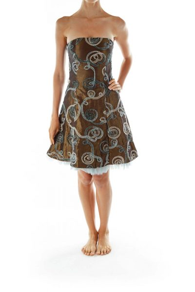 Brown Strapless Dress w/ Blue Tulle