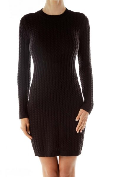 Black Stretchy Cable-Knit Dress