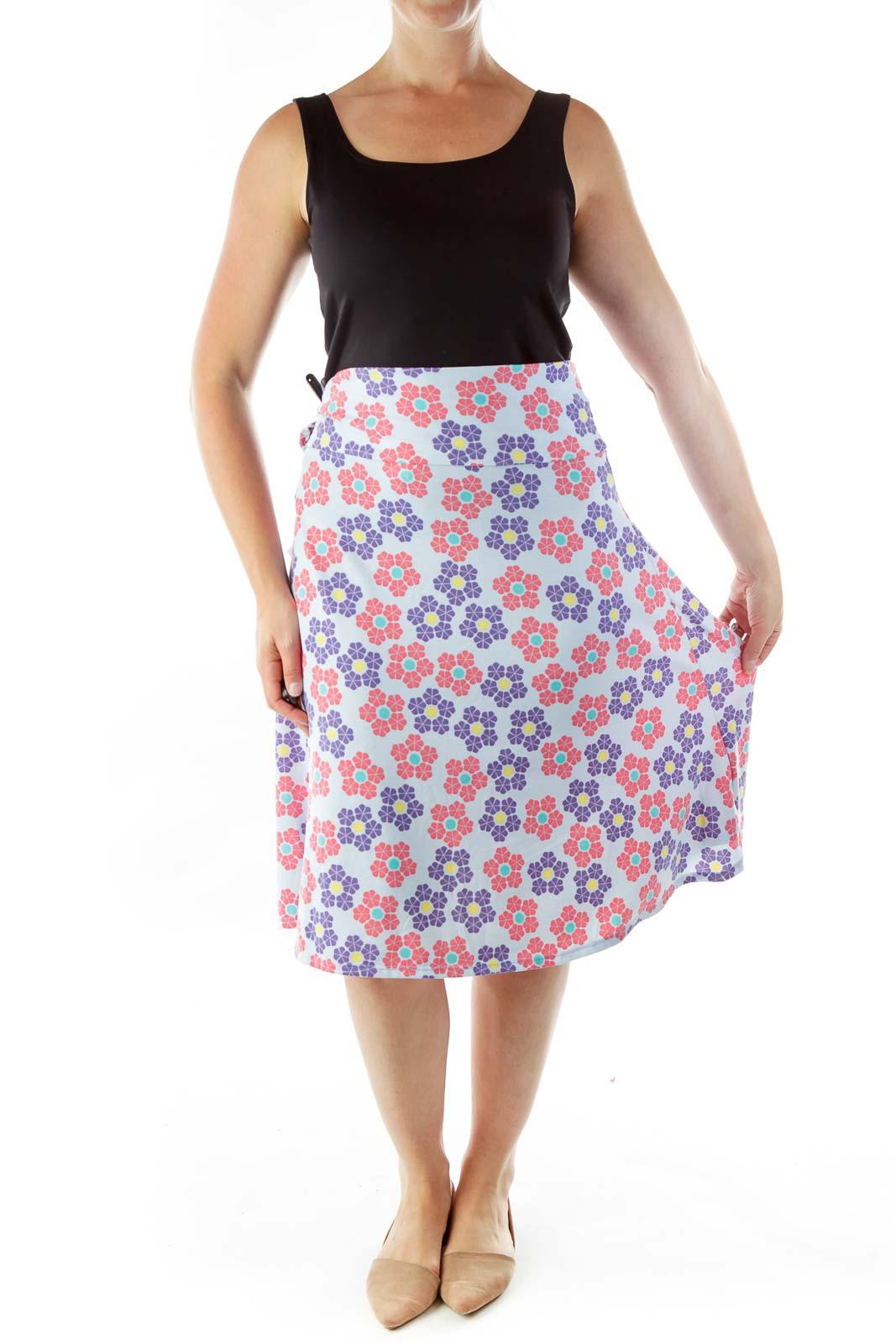 Blue Purple Flared Skirt