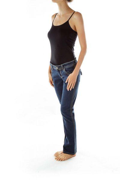 Navy Straight-Leg Jeans