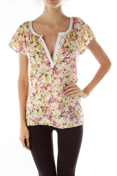 Pink Yellow Floral Brodery Blouse