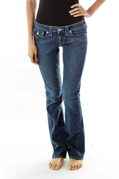 Navy Shimmer Button Straight-Leg Jeans