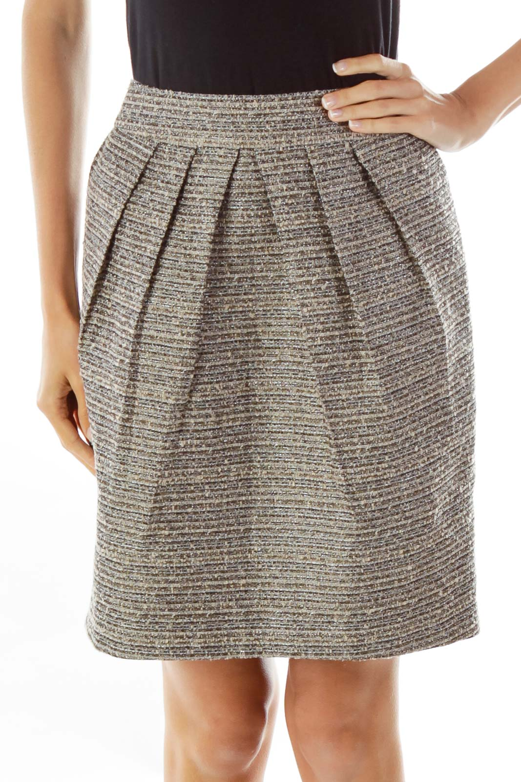 Brown Shimmer Tweed Pencil Skirt