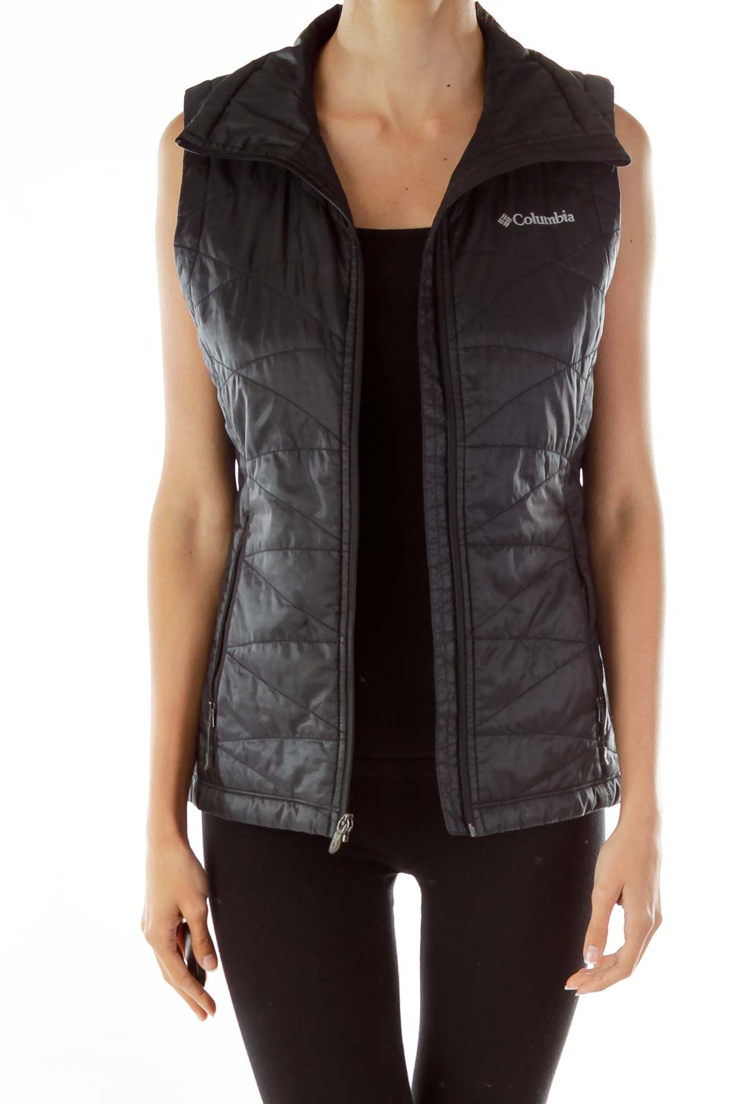 Black Padded Zipper Vest