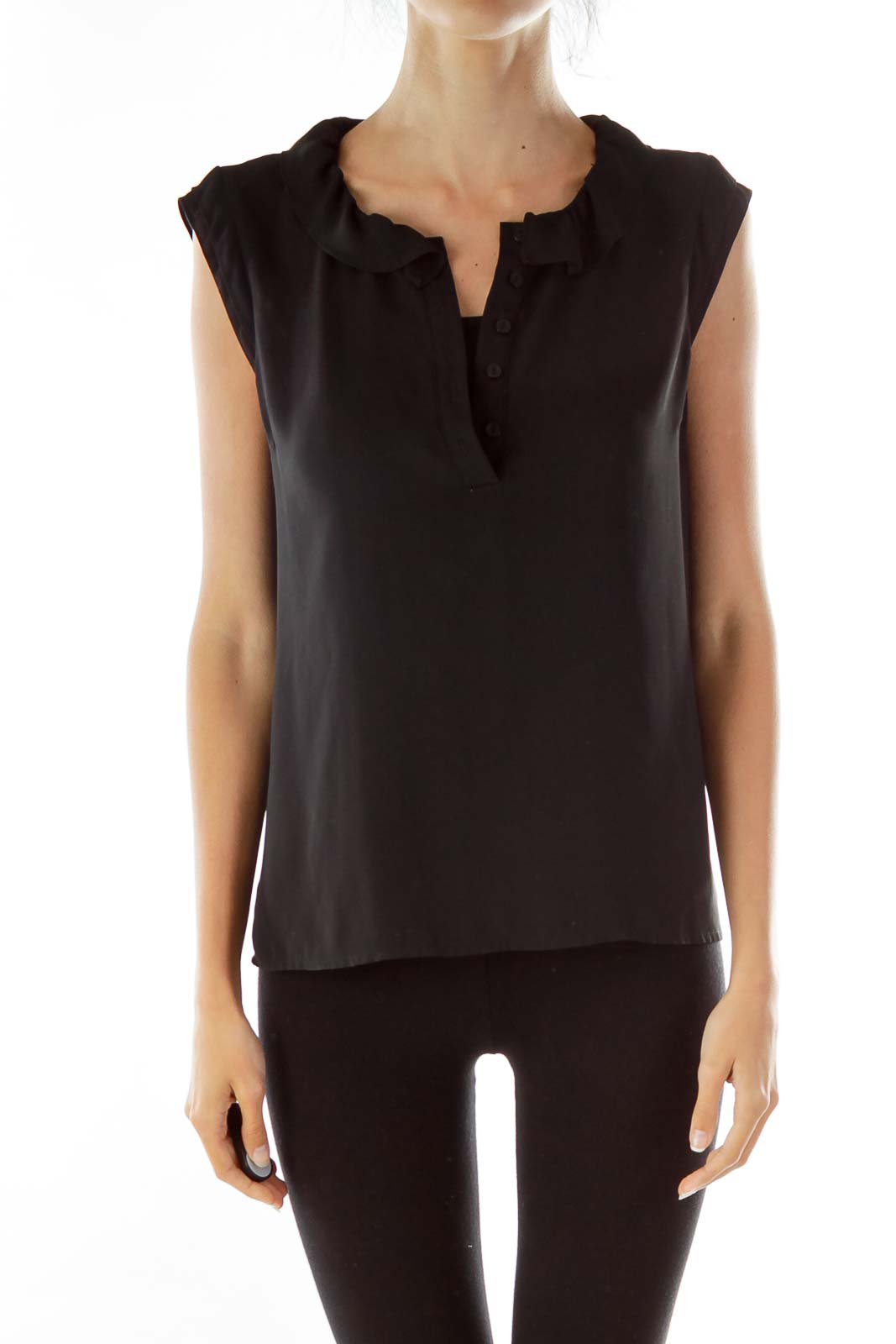 Black Ruffle Collar Sleeveless Blouse