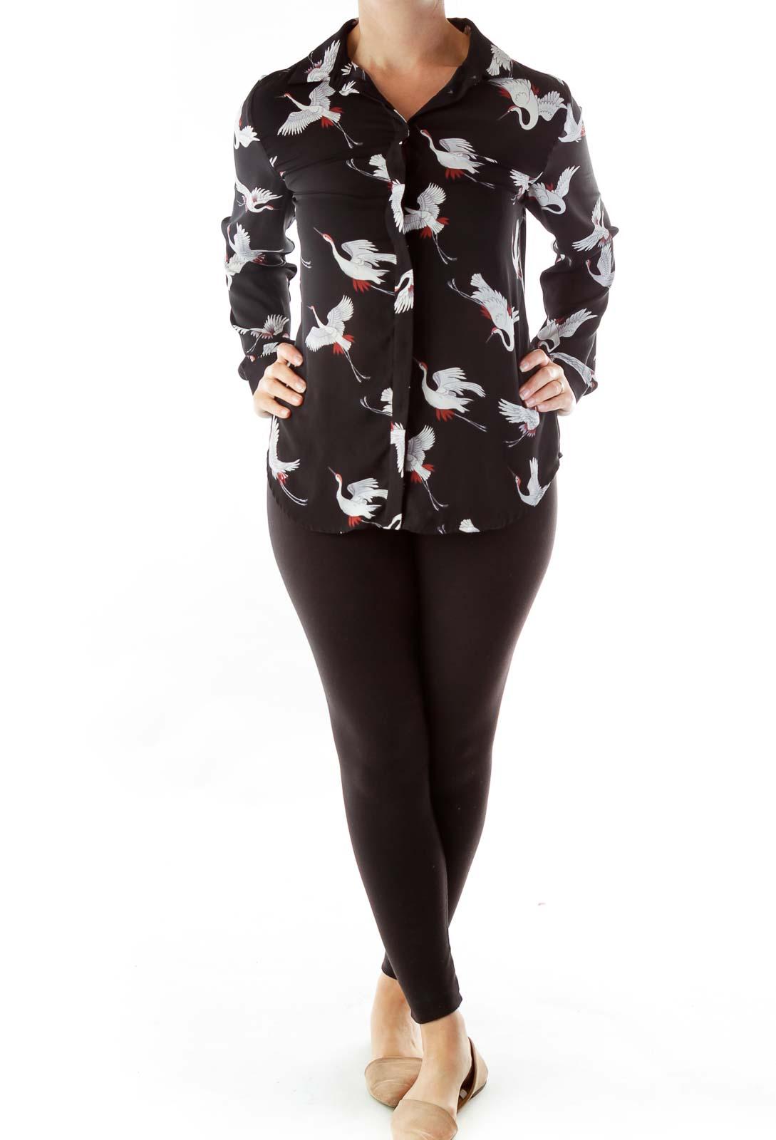 Black Bird Print Button-Up Blouse