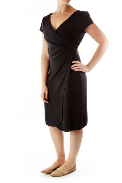 Black V-neck Fitted Dress