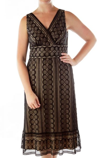 Black Beige Lace V-neck Dress