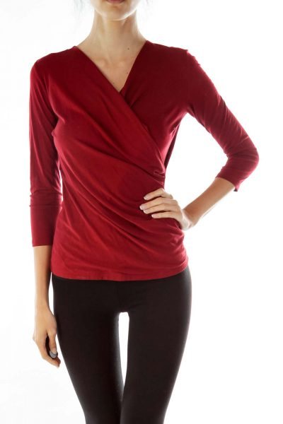Red Scrunched Blouse