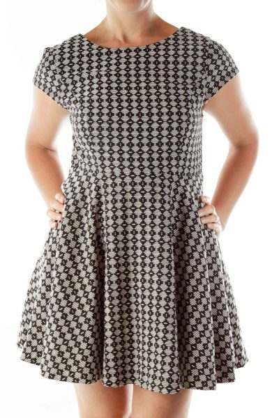 Black White Printed Empire Waist Dress