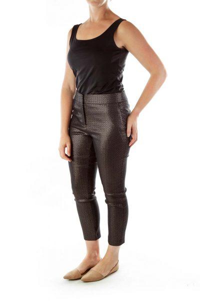 Black Woven Shimmery Skinny Pants