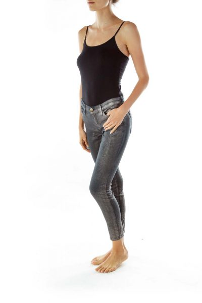Navy Silver Skinny Jeans