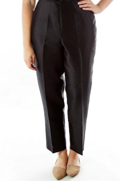 Black Satin Silk Pants