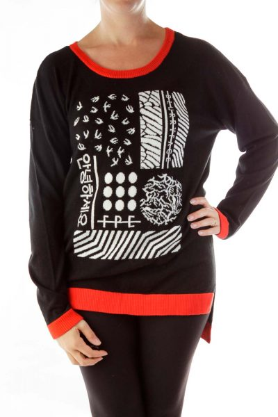 Black Red Print Sweater