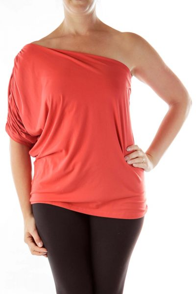 Red Scrunched One-Shoulder Top