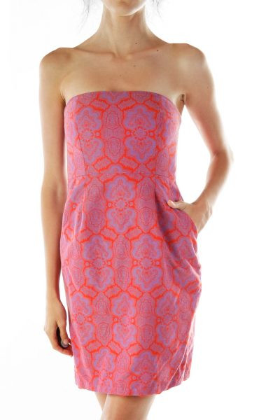 Red Purple Print Strapless Dress