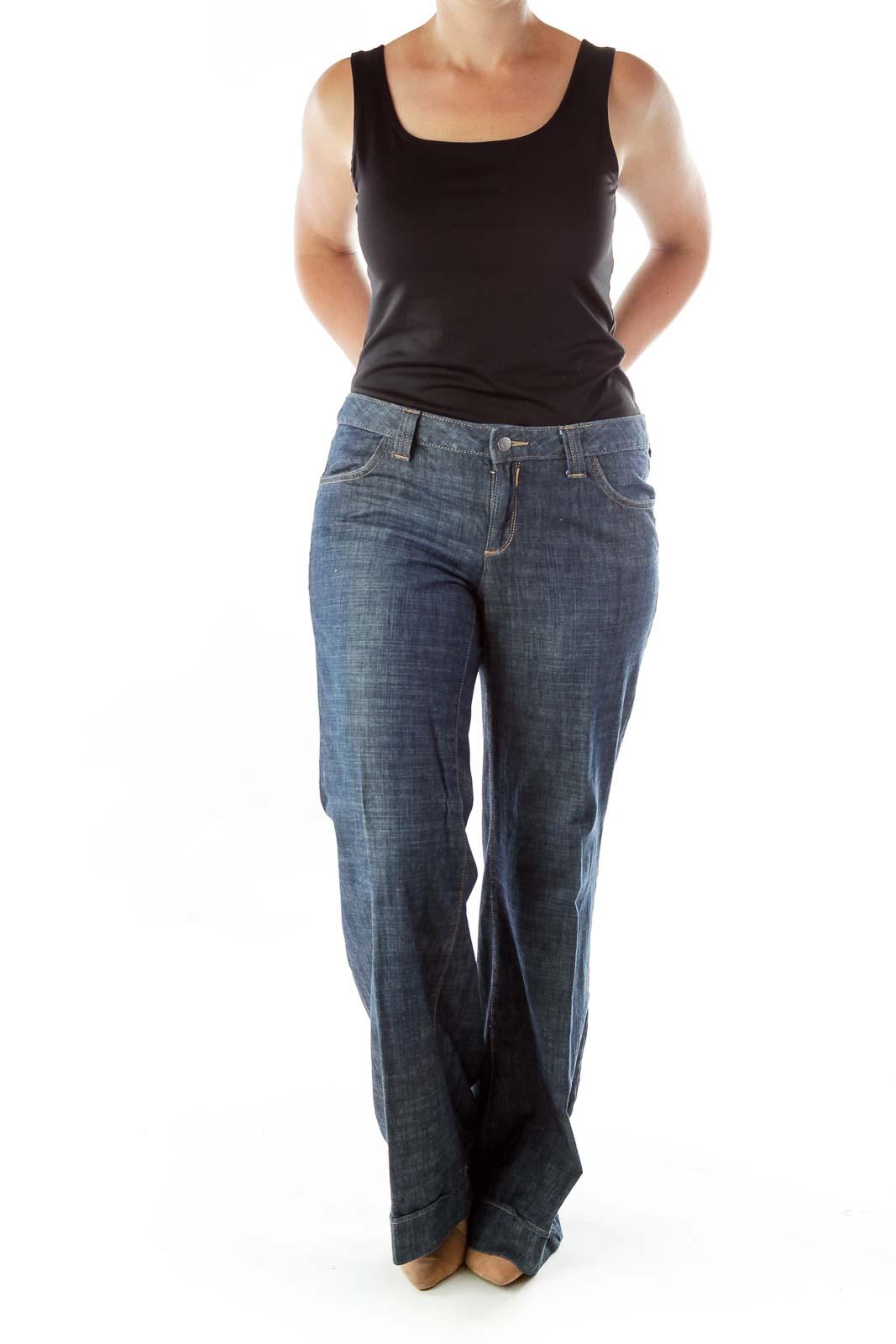 Blue Wide-Leg Jeans