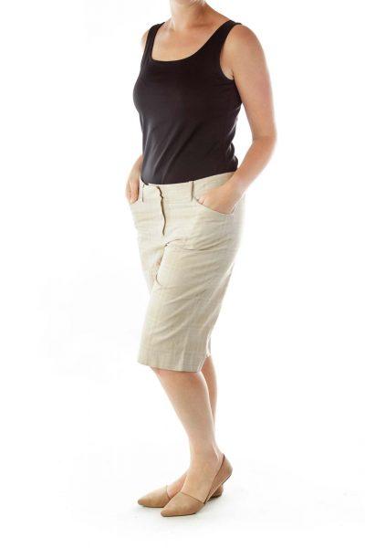 Beige White Plaid Bermuda Shorts