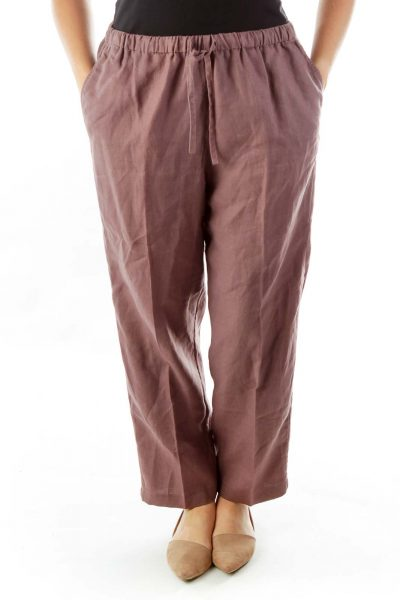 Purple Linen Track Pants