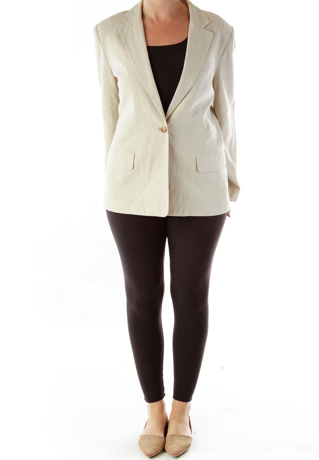 Beige Single Button Linen Blazer