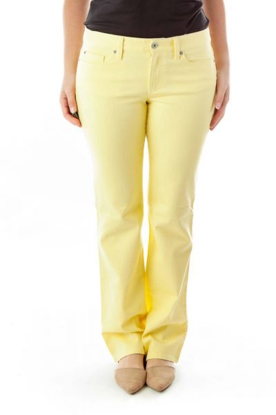 Yellow Straight-Leg Jeans