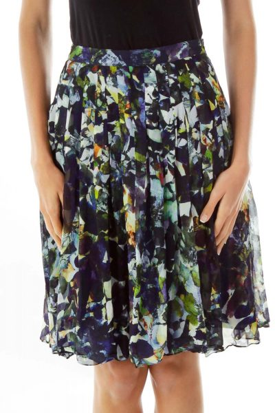 Multicolor Print Pleated Skirt