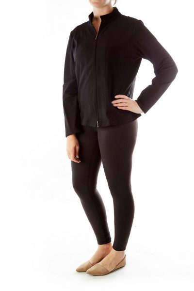Black Fitted Zippered Jacket