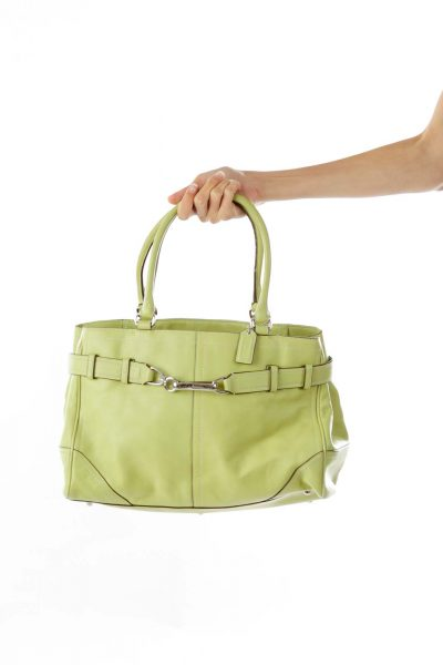 Green Belted Leather Satchel