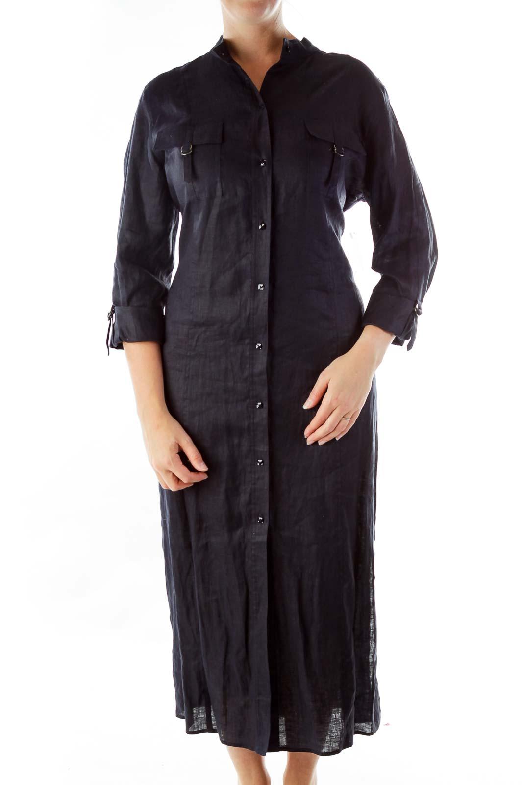 Navy Button Down Linen Dress