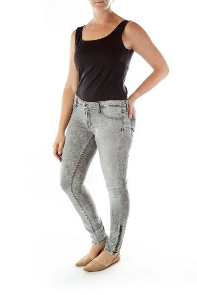 Gray Zippered Skinny Jeans