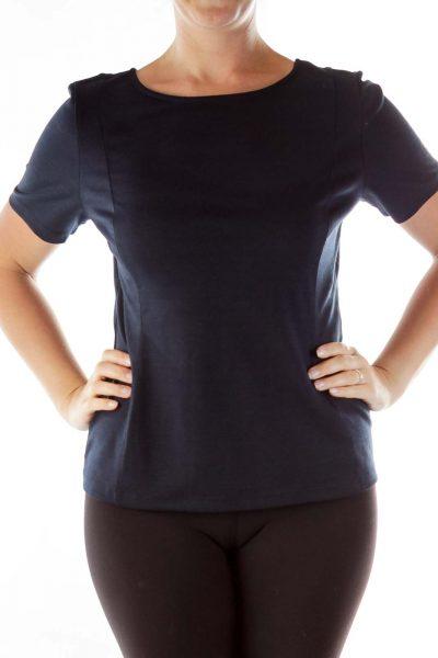 Black Zipper Detail T-shirt