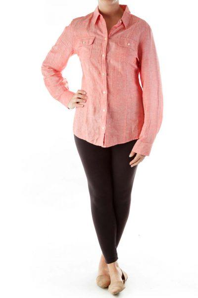 Pink Linen Button-Up Shirt