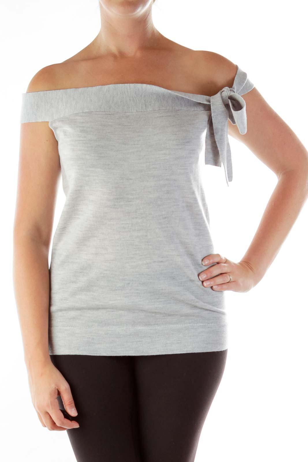Gray Merino Wool Knit Top