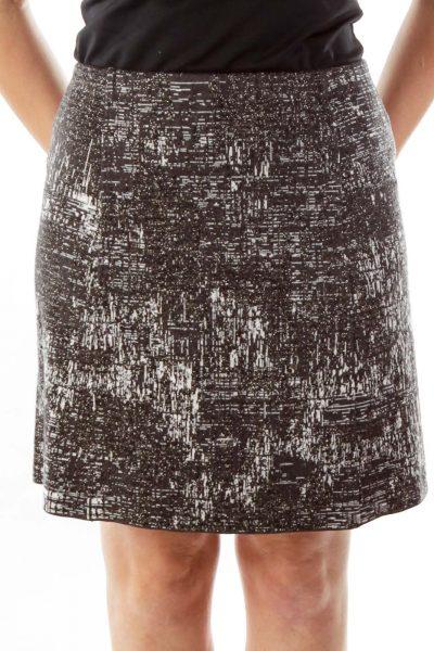 Gray Metallic Detail Studded Skirt