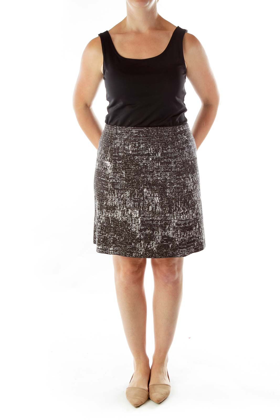 Gray Metallic Detail Studded Skirt