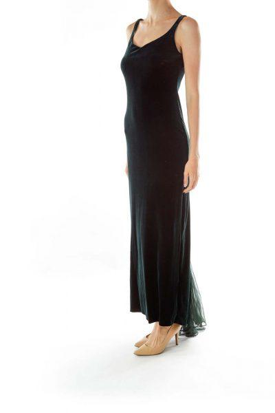 Green Velvet Sleeveless Maxi Evening Dress