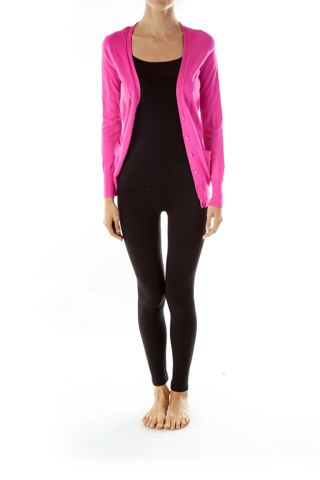 Hot Pink Merino Wool Cardigan