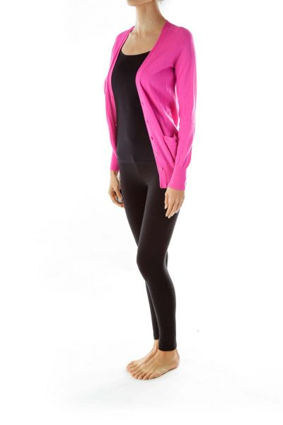 Hot Pink Merino Wool Cardigan