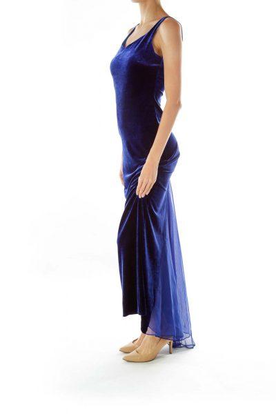 Blue Velvet Sleeveless Maxi Evening Dress