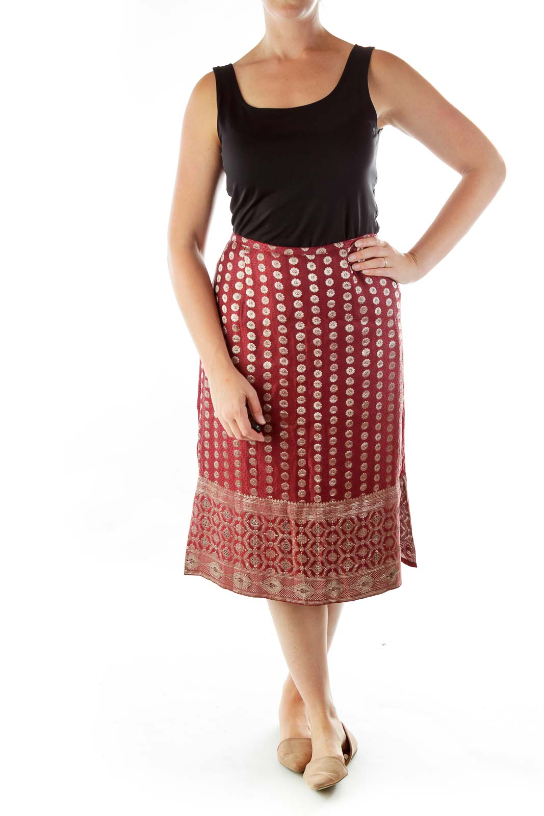 Maroon Embroidered Silk Skirt