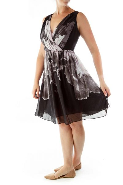 Black Purple Print Sleeveless Day Dress